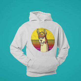 Толстовка, худи с принтом Веселая лама в очках