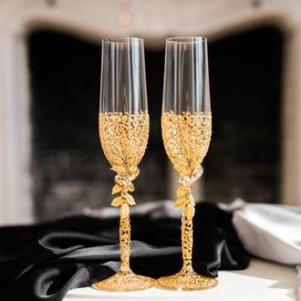 Фужеры свадебные с ажурной росписью Золотые листики