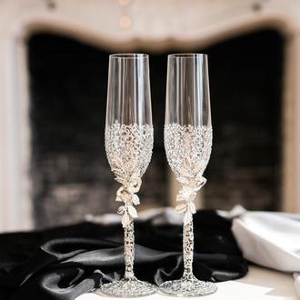 Фужеры свадебные с ажурной росписью Серебряные листики