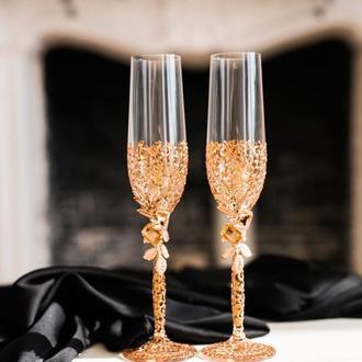 Фужеры свадебные с ажурной росписью  Листики розовое золото