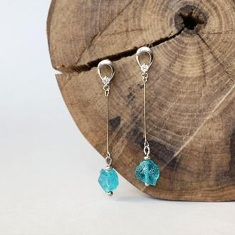 Длинные бирюзовые серьги с кристаллами апатита (модель № 552) JK jewelry