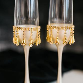 Свадебные бокалы Золотые капли