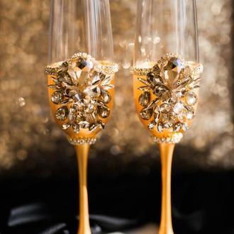 Свадебные бокалы Золотой сапфир