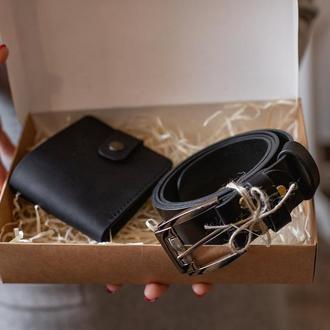 Подарочный набор для мужчины: кожаный черный ремень и портмоне_набор кожаных изделий_подарок мужу