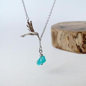 Подвеска-птичка с кристаллом голубого апатита (модель № 577) JK jewelry