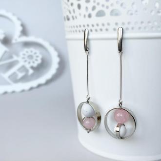 Длинные серьги в стиле геометрия с бусинами кахолонга и розового кварца  (модель № 578) JK jewelry