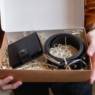 Мужской подарочный набор: кожаное портмоне+ремень_подарок мужчине