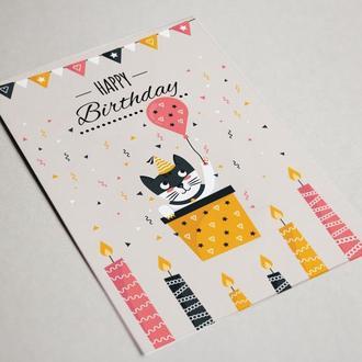 """Поздравительная открытка с котиком """"Happy Birthday"""""""
