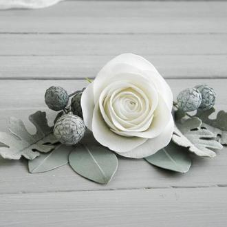 Набор шпилек с цветами для невесты , Шпильки с розами и эвалиптом