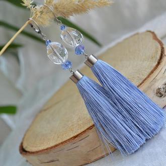 Голубые серьги - кисти с горным хрусталем ′Небеса′