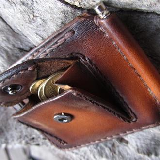 Маленький кожаный кошелек мужской,кошельки для монет и денег,авторский именной кошелек,подарок парню