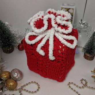 Вязаный подарочный мешочек, мешок, новогодний мешок, мешочек счастья