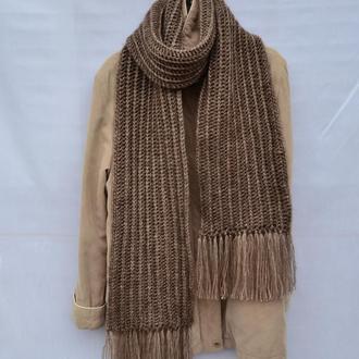 Длинный  вязаный шарф. Коричневый шарф. Жіночий шарф. Чоловічий шарф. В'язаний довгий шарф.
