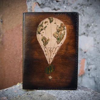 Обложка на паспорт, для паспорта, кожаная обложка для паспорта воздушный шар