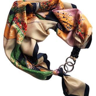 """""""Горная нимфа"""", Атласный платок My Scarf, шейный платок, подарок женщине"""