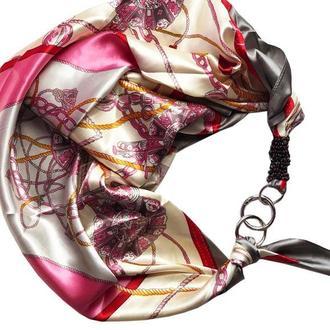 """""""Розовый жемчуг"""", Атласный платок My Scarf, шейный платок, подарок женщине"""