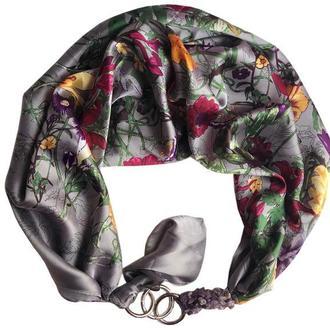 """""""Серебристый сад"""", Атласный платок My Scarf, шейный платок, подарок женщине"""
