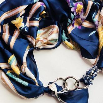 """""""Королевский синий"""", Атласный платок My Scarf, шейный платок, подарок женщине"""