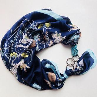 """""""Орхидеи голубых  грез"""", Атласный платок My Scarf, шейный платок, подарок женщине"""