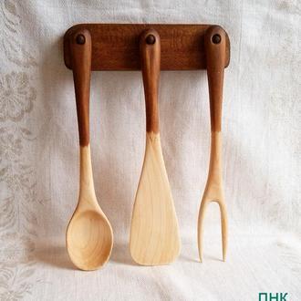 """Деревянная посуда. Набор кухонный """"Темная тройка""""."""