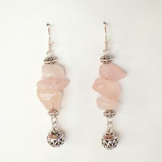 Длинные Бохо серьги из розового Кварца с Тибетскими подвесками и серебряным ушным крючком