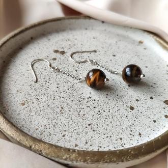 Серебряные сережки с натуральным тигровый глазом