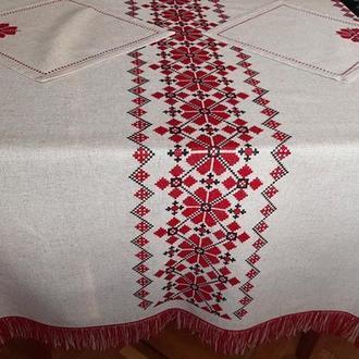 Традиционная вышитая скатерть с бахромой в украинском стиле+6 салфеток