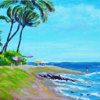 "Картина ""Гавайи"", голубой, зеленый"