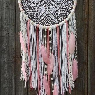 Ловец снов, богемный декор, декор в спальню, декор для интерьера, розовый ловец снов