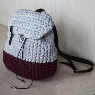 Рюкзак на затяжках серый/бордо