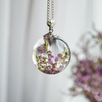 Кулон, подвеска с сухоцветами