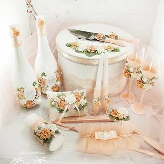 Свадебный набор персиковый / Персиковый набор для свадьбы / Персиковое свадьбы / Свадебные аксессуары