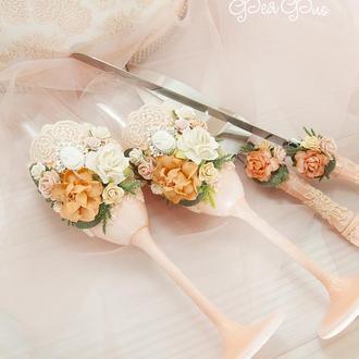 Бокалы персиковые для свадьбы / Персикові бокали для весілля / Фужери / Келихи