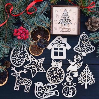 Деревянные Ёлочные игрушки, набор игрушек из дерева,новогодний набор деревянных игрушек
