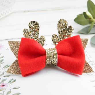 Новогодняя заколка - красный и молочный бантик с оленьими рожками