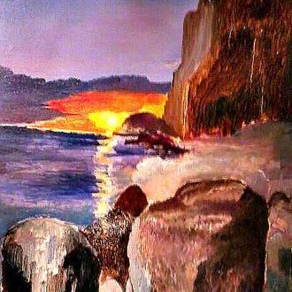 Картина интерьерная. Морской закат. Холст на подрамнике, масло