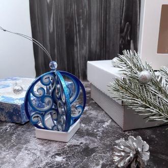 """Объемная новогодняя игрушка на елку из дерева 3д """"Праздничный шар"""""""