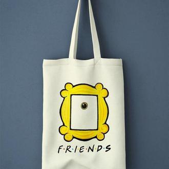 """Шоппер из льна с росписью """"Друзья. Friends"""""""