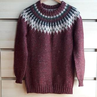 Твидовый свитер с узором лопапейса