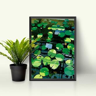 Картина иллюстрация для интерьера ботаническая, растения, цветы