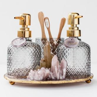 Дозаторы для жидкого мыла и крема для рук со стаканом для зубных щеток