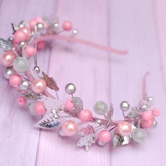 Стильный обруч ободок розово-серебристый