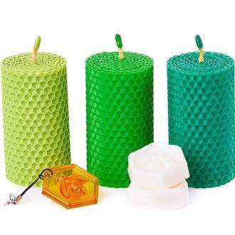 Набор из трех натуральных свечей, зеленых оттенков для дома, подарков и декора интерьеров