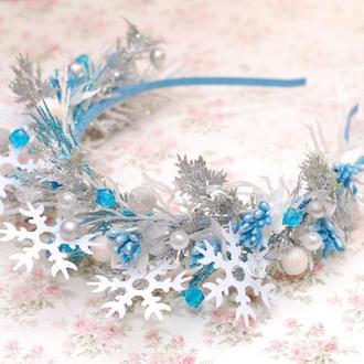Новогодний обруч ободок снежинка