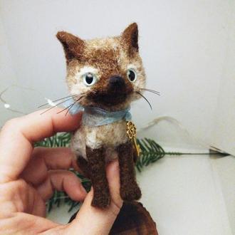 Черный лис валяная лиса маленькие игрушки лисенок