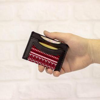 Маленький кожаный кошелек, докхолдер, миникошелек, визитница. Корпоративный подарок. Сувенир