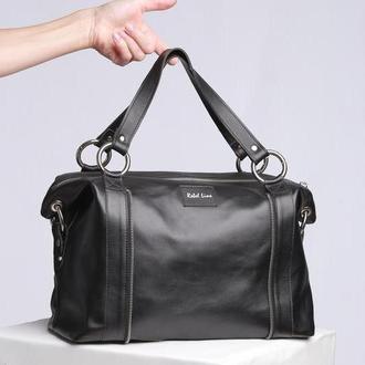 Кожаная сумка-саквояж гладкая черная 0301