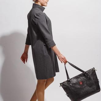 Кожаная сумка-саквояж «крокодил» черная 0303