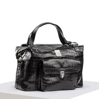 Кожаная сумка-саквояж «крокодил» черная 0302