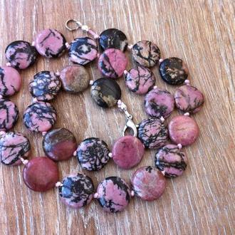 Бусы ожерелье натуральный родонит (орлец)